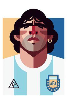 """Diego Armando Maradona"", [Argentina], soccer player, - Digital Illustration by Daniel Nyari (b. Romanian/New York). Art Football, Soccer Art, Football Players, Sand Soccer, Street Football, Football Fever, Fifa Football, Football Stuff, Retro Football"