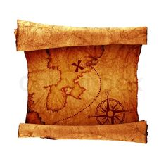 image of vintage maps | Stock image of 'old treasure map, isolated on white'