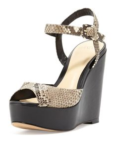 Python 110mm Wedge Sandal, Gray, Women's, Size: 8 1/2B, Grey - Alexandre Birman