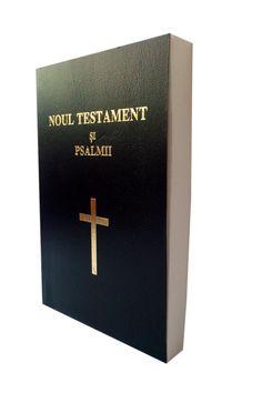 Noul Testament si Psalmii, coperta flexibila, neagra. scris mare, cuv. lui Isus cu rosu