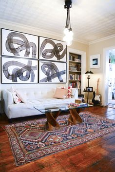 Living room with bold art. Brooklyn apartment designed to merge a couple's two very different styles My Living Room, Home And Living, Living Spaces, Lofts, Bauhaus, Brooklyn Apartment, Living Comedor, Deco Design, Living Room Inspiration