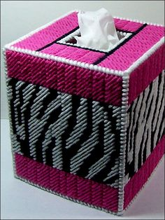 Zebra plastic canvas tissue box ... Who wants this??  I'm eager to make it!!!!!