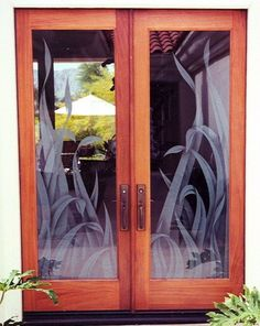 etched glass door reeds clear**