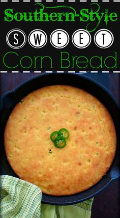 This dessert-like Sweet Southern Cornbread is going to take your family by storm combining cornmeal, buttermilk, eggs, organic non-GMO verified corn and spicy jalapeño peppers all baked in an old-fashioned cast iron skillet to perfection.
