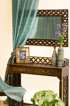 #mirror #wall #accents #corners #curtains #vases #accessories #home #wood #furniture #interior #design #Fabindia