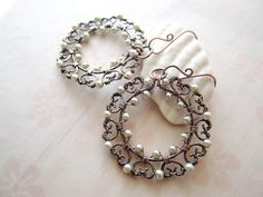 SnowFlake Copper Wire Wrapped Earrings Winter Handmade Wire Jewelry Earrings, Wire Necklace, Wire Wrapped Earrings, Beaded Earrings, Earrings Handmade, Beaded Jewelry, Handmade Jewelry, Jewelry Crafts, Jewelry Art