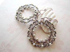 SnowFlake Copper Wire Wrapped Earrings Winter Handmade