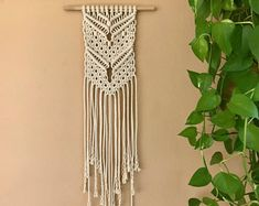 Small Macrame Wall Hanging - Natural White Cotton Rope w/ Wooden Beads on Dowel - Boho Home, Nursery Decor - MADE TO ORDER
