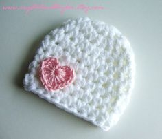 Crochet Baby Girl Hat with Heart in White and by crystalandtaylor, $12.50