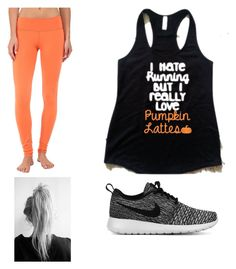 """Going for an autumn run"" by kmmarkham-1 ❤ liked on Polyvore featuring Cozy Orange, NIKE, women's clothing, women's fashion, women, female, woman, misses and juniors"