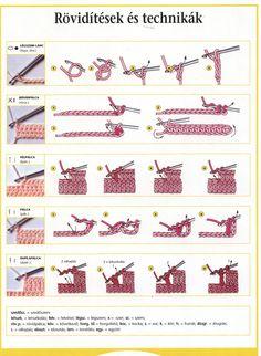 Új lap - 1 Crochet Symbols, Crochet Patterns, Chrochet, Knit Crochet, Crochet Basics, Crochet Animals, Hair Accessories, Album, Embroidery