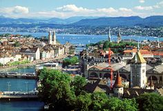 Zurich... I had a layover here once, and thought it was the most beautiful place I'd ever seen.  Would love to visit for real one day!