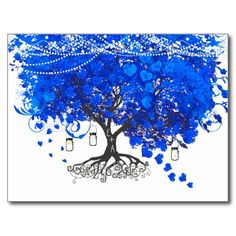 Cobalt Blue Heart Leaf Tree Wedding Invites Postcard