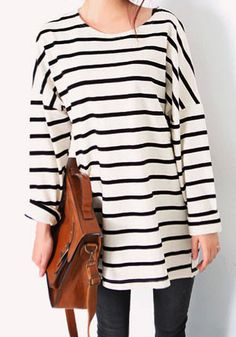 Striped Cotton Long-Sleeve Top