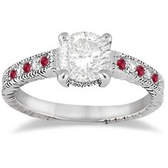Allurez Vintage Ruby & Diamond Engagement Ring 14k White Gold 0.31ct ($740) ❤ liked on Polyvore featuring jewelry, rings, wedding rings, white gold, white gold engagement rings, diamond rings, round engagement rings, antique wedding rings and diamond engagement rings