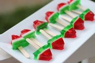 A fun party food for your summer BBQs: Watermelon Jello Shots on a Stick (N/A or with Tequila).