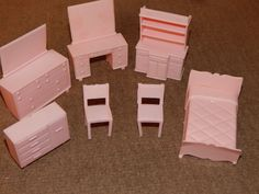 VINTAGE, SUPERIOR PLASTICS, LIGHT PINK DOLL HOUSE MIX LOT FURNITURE 7 PIECES | eBay