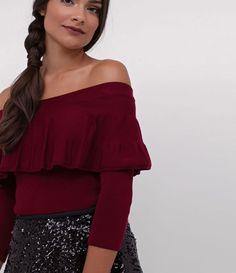 Blusa ombro a ombro cropped com babado
