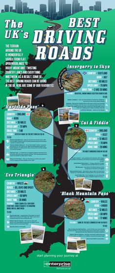 Enterprise Rent-a-Car UK Road Trips Infographic Large http://www.anglotopia.net/british-travel/infographic-the-uks-best-driving-roads/