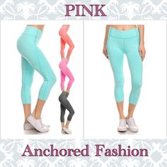 Pink Capri Available in Pink, Mint, Black and Coral and Sizes S/M and L/XL. These capris are 92% Nylon and 8% Spandex. If you don't see the color or size you would like listed, please let me know. Pants Track Pants & Joggers