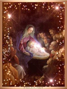 new Catholic animated gifs Merry Christmas Gif, Christmas Nativity Scene, Christmas Scenes, Vintage Christmas Cards, Christmas Pictures, Christmas Greetings, Winter Christmas, Christmas Time, Holiday