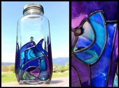 StainedGlass Water Bottle made from recycled glass by Hydrosphere
