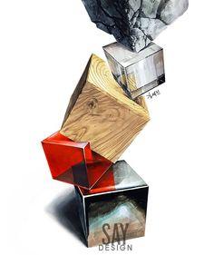 암기한 과장된 질감 표현 말고, 질감의 본질을 이해하여 사실적으로 표현하기 . . . . . . .… Interior Design Sketches, Industrial Design Sketch, Still Life Drawing, Still Life Art, Cubes, Copic Art, Color Psychology, Concept Architecture, Drawing Lessons