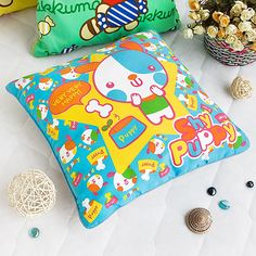 [Shy Puppy] Decorative Pillow Cushion / Floor Cushion (15.8 by 15.8 inches)