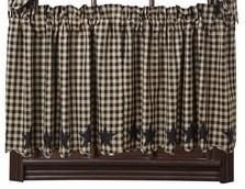 Black Star Scalloped Lined Tier Curtains 24""