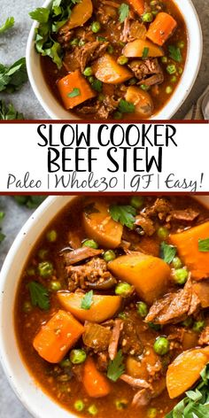 This easy slow cooker beef stew is hearty, healthy, and quick to prepare. Your crock pot will do all of the work, making this soup perfect for a weeknight dinner or meal prep recipe. It's paleo, Whole30, gluten-free, and super filling with the variety of vegetables and stew meat! #whole30beefstew #whole30slowcooker #slowcookerbeefstew #paleobeefstew #whole30beefrecipes #whole30souprecipes Whole30 Soup Recipes, Stew Meat Recipes, Whole Food Recipes, Healthy Recipes, Beef Stew Paleo, Beef Stew Crock Pot, Vegetable Stew Crockpot, Crockpot Recipes Gluten Free, Healthy Crockpot Dinners