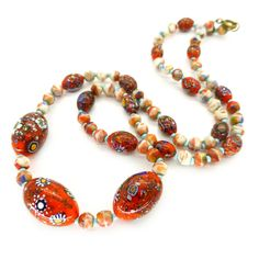Vintage Art Deco Orange Rainbow Spatter Aventurine End Of Day Glass Bead Necklace | Clarice Jewellery