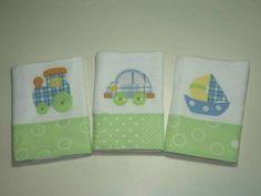 Elo7 Fraldinha em tecido fralda duplo , aplicação com caseado e barrado em tecido de algodão. * kit com 3 fraldinhas