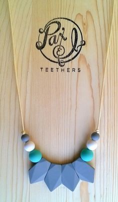 Tetra Quad Silicone Teething Necklace - Gray, Teal, Navajo White by Paxandi on Etsy https://www.etsy.com/listing/217985162/tetra-quad-silicone-teething-necklace