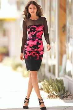 Multicolor Floral Print Mesh Long Sleeve Bodycon silhouette illusion dress @ Boston Proper $100 CUTE