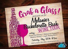 Bachelorette Invitation - Bachelorette Wine Tasting, Wine Tour - Personalized Invitation- PRINTABLE invitation - DIY - Girls Night Out