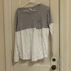 PINK long sleeve PINK by VS half grey half white long sleeve with pocket. Only worn a few times still in perfect condition PINK Victoria's Secret Tops Tees - Long Sleeve