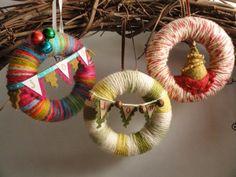 Mini Yarn Wreath Holiday Ornaments