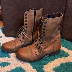 Tan leather lace up boots. Barely worn Super soft leather lace up boots. Aged effect on leather. Wore only a few times. Some small scuffs on toes as seen in second pic. Call It Spring Shoes Lace Up Boots