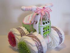 4 Wheeler Diaper Cake by bearbabycakes on Etsy, $65.00