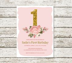 Pink and Gold First Birthday Invitation Printable Glitter Elegant Simple Floral Flower Bling Chic Baby Children's Shabby Chic Download