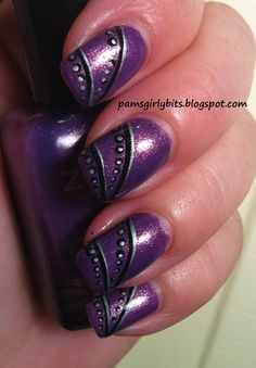 Purple with black & silver designs