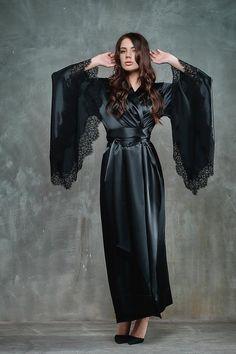 Long Silk Robe/Black Robe/Silk Kimono/Women's Robe/Black Kimono/Long Kimono Robe/Bridesmaid Robe Long/Big Size Robe/Long Plus Size Robe/ Silk Robe Long, Silk Kimono Robe, Hollywood Glamour, Lace Bridal, Lace Wedding, Pyjama Satin, Chiffon, Black Kimono, Kimono Fashion