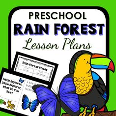 Learn about rain forest animals and foods from the rain forest with the hands-on learning and play ideas in this preschool rain forest theme lesson plan set Rainforest Theme, Rainforest Animals, Jungle Animals, Preschool Lesson Plans, Preschool Printables, Preschool Classroom, Jungle Theme Activities, Reading Activities, Daily Lesson Plan