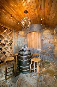 wine barrel table, bar stools, light fixture