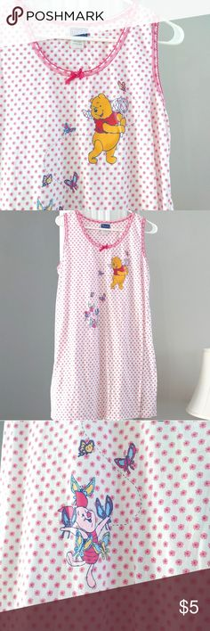 Pooh sleeveless short nightie Super cute, soft, and comfy!  Very gently used in excellent condition (I'm not actually sure if I ever wore it at all)!  Adorable Pooh and Piglet graphics!  Size large.  40 bust, 32 length.  Price is firm because it's so low.  Add to a bundle to save 10%! Intimates & Sleepwear Chemises & Slips