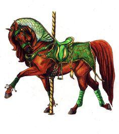 Celtic Carousel by lunatteo All The Pretty Horses, Beautiful Horses, Horse Drawings, Animal Drawings, Carosel Horse, Fair Rides, Horse Illustration, Go Ride, Horse Artwork