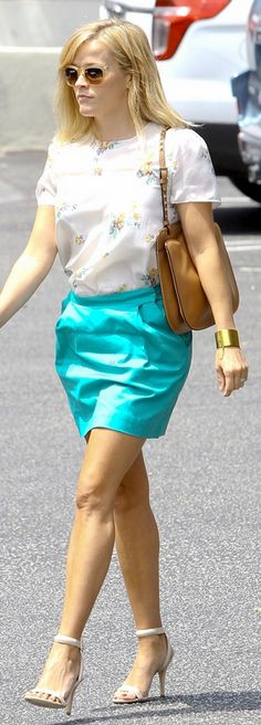 Reese Witherspoon: Sunglasses – Oliver Peoples  Purse – Valentino  Shirt – Band of Outsiders  Bracelet – Celine  Shoes – Alexander Wang