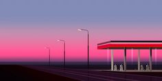 Clément Dezelus / Gas Station Beach Lifeguard, Inspiration Design, Gas Station, Motion Design, New Age, Illustration Art, Illustrations, Pretty Pictures, Seattle Skyline