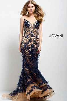 d4a81fe785 Jovani Charcoal Embellished Strapless Mermaid Evening Dress 45760. Navy and  Nude Embroidered Mermaid Evening Gown 41592