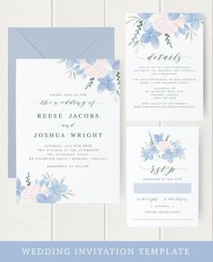 · This blue floral wedding invitation template is perfect for creating your own elegant wedding invitations on a budget. Adorned with watercolor hydrangea florals, this invitation set can be… Elegant Wedding Invitations, Printable Wedding Invitations, Invitation Set, Floral Invitation, Event Invitations, Wedding Details Card, Wedding Cards, Wedding Quotes, Dusty Blue Weddings